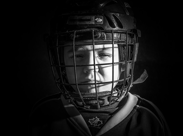 Minor Hockey Portrait Barrie Black and White