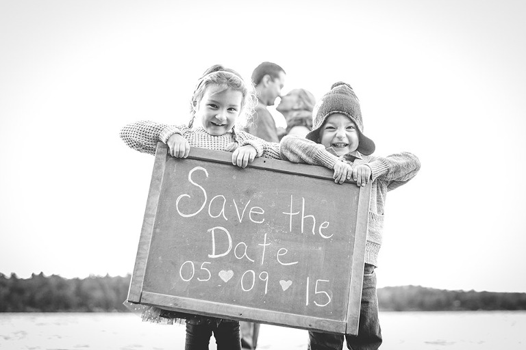 Save the Date Engagement Photo kids
