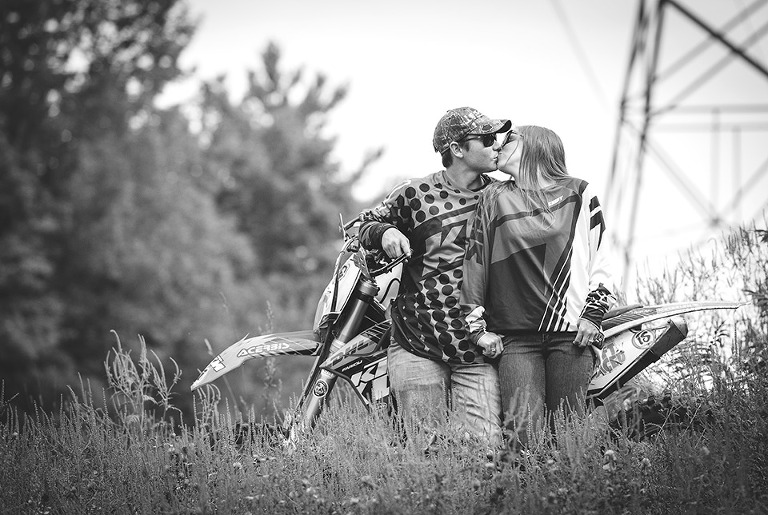 Black and White Motocross Engagement photo